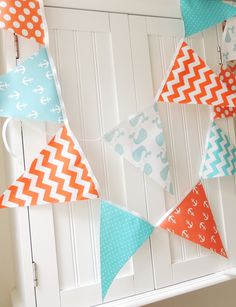 Nautical Fabric Banner, Bunting Fabric Pennant Flags, Baby Shower Banner, Aqua Blue, Orange, Whale, Anchor, Baby Boy Nursery, Birthday Party