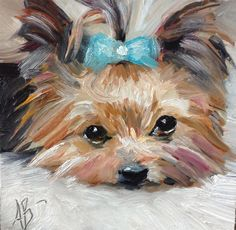 "Dog painting pet art Daily Paintworks - ""A lot of loving"" - Original Fine Art for Sale - © Annette Balesteri Yorky Terrier, Fine Art Auctions, Dog Portraits, Fine Art Gallery, Animal Paintings, Dog Art, Art For Sale, Painting & Drawing, Art Drawings"