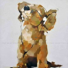 Dog enjoy music painting on canvas,arte moderna cane,large oil painting,abstract portrait painting,pop art,hand painted by Ape Art Studio