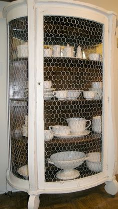 Chicken Wire. Painted White U0026 Lightly Distressed. Armoire Vitrine