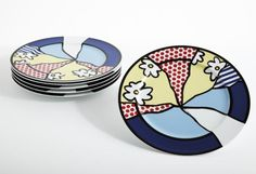 PHILLIPS : NY030110, Roy Lichtenstein, Six service plates (water lily)  porcelain