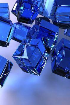 Blue Glass Cubes ~♥