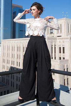 Alana Black Wide Leg Palazzo Pants