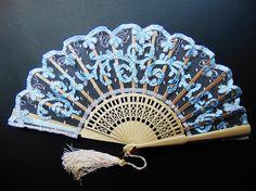 Fan.Abanicos Bordados : Abanico Bordado Modelo Azules