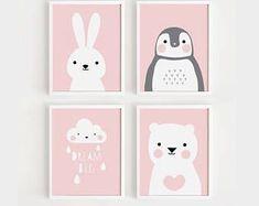 Imprimibles infantiles arte Set de 4 habitaciones de las muchachas del bebé Poster Arte PARED niño habitación decoración color rosa impresión Digital instantáneo de descarga de archivos