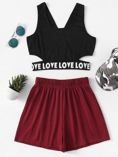 To find out about the Letter Tape Hem Top With Shorts at SHEIN, part of our latest Two-piece Outfits ready to shop online today! Sporty Outfits, Mode Outfits, Cute Casual Outfits, Stylish Outfits, Summer Outfits, Girls Fashion Clothes, Teen Fashion Outfits, Girl Fashion, Girl Outfits