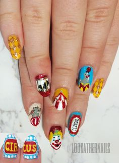 Circus / carnival nail art by LookAtHerNails Circus Nails, Carnival Nails, Nail Art Diy, Easy Nail Art, Diy Nails, Painted Nail Art, Party Nails, Funky Nails, Paws And Claws