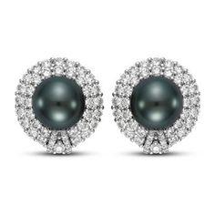 10.0 mm Black Tahitian Pearl & Diamond Earrings 14kt White Gold