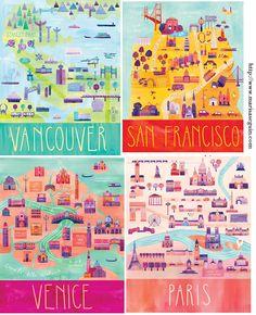 Inspiration: Illustrated City Map Prints - Jenikya's Blog