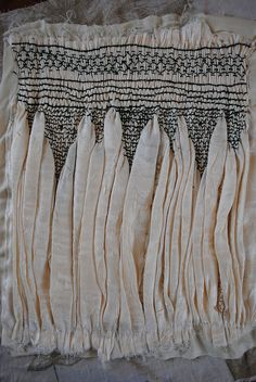 Smocking - smocked fabric with contrasting black stitching - sewing technique; textiles I got a bit carried away with the ruching . it turned into full-on smocking. This piece is approx x 12 inches Textile Manipulation, Fabric Manipulation Techniques, Textiles Techniques, Sewing Techniques, Textile Texture, Textile Fiber Art, Textile Fabrics, Textile Artists, Punto Smok