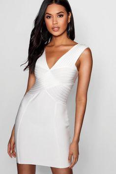 446969094dc Sara Bandage Plunge Cut Out Bodycon Dress. Boohoo White DressParty DressHigh  Neck ...