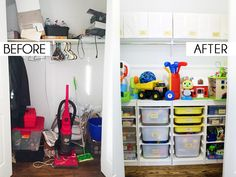 Empty an underutilized closet and install a toy organizer system to make it the perfect spot for toy storage.