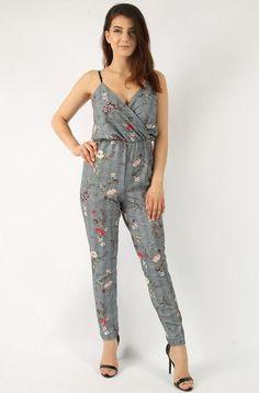 Floral & Check Cami Jumpsuit