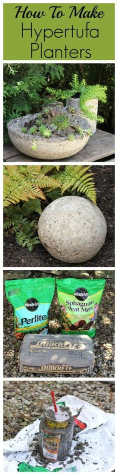 How to make lightweight hypertufa planters for your garden and patio. They look like concrete, but are much lighter! by carlene
