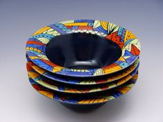 HandPainted Bowls Set of 4 by amybarker on Etsy, $60.00
