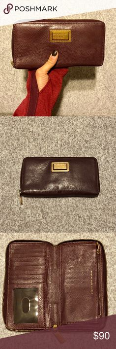 Marc by Marc Jacobs Leather Continental Wallet Marc by March Jacobs Continental Wallet  Soft leather, deep plum colored with gold zippers  Separate compartment for change with zipper  Great condition! Marc By Marc Jacobs Bags Wallets