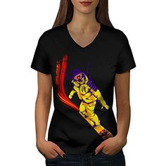 Snowboard Samurai Modern Ninja Women NEW Black L VNeck Tshirt  Wellcoda ** To view further for this item, visit the image link.