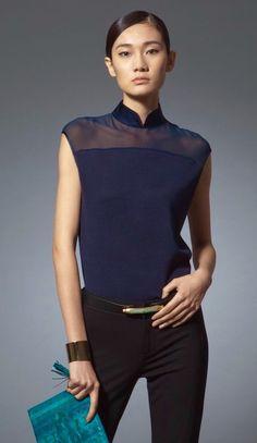 Shanghai Tang Oriental Fashion, Asian Fashion, Cheongsam Modern, Shanghai Tang, Great Gatsby Fashion, Tunic Designs, Cheongsam Dress, Fashion Project, Mandarin Collar