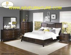 The price is for 8pc Set includes HB, FB, Rails, 2 Night Tables, Chest, Dresser & Mirror.This collection features a low-profile bed with bowed-front drawers on the case pieces. Accented by fluting design and satin nickel hardware. Brown Cherry finish. Upgrade to king size for $299.  Dimensions (LXWxH)  Material: Solid Wood & Veneers. Price: 8pc $2868