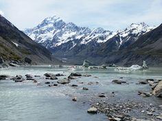 Hooker Glacier, Hooker Valley Track, Mount Cook National Park, Nieuw-Zeeland #newzealand #roadtrip