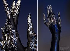 Metal rings with metal claws by designer Lory Sun