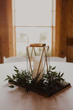 Gorgeous summer wedding in Olathe, Kansas. Summer Wedding Centerpieces, Lantern Centerpiece Wedding, Greenery Centerpiece, Candle Wedding Centerpieces, Simple Centerpieces, Wedding Summer, Graduation Centerpiece, Dream Wedding, Lanterns Decor