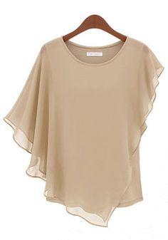 Apricot Irregular Short Sleeve Loose Chiffon T-Shirt