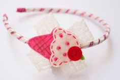 summer felt icecream pink red and offwhite headband by Bubblebuzz, $9.90