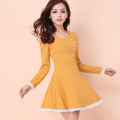 Long-Sleeved Lace Trim A-Line Dress from #YesStyle <3 Ringnor YesStyle.com