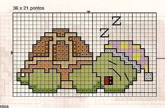 Borduurpatroon kruissteek Dieren *Embroidery Cross Stitch Animals ~Schildpad~