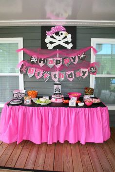 Pink and Black Pirate Happy Birthday Pennant Pirate Birthday, Birthday Diy, Princess Birthday, 2nd Birthday Parties, Princess Party, Happy Birthday, Girls Pirate Parties, Mermaid Parties, Minnie Mouse Party