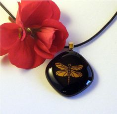 Black Fused Glass Pendant  Necklace with by GreenhouseGlassworks, $20.00