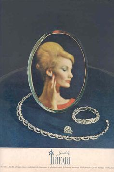 "1962 - TRIFARI - ADS - ""Reverie Collection"" - Reverie ... the Miss of the night  stars ... Multifaceted rhinestones in platinum-toned Trifanium. Necklace 30.00, bracelet 20.00, earrings 10.00, plus tax. - Harper's Bazaar 1962"