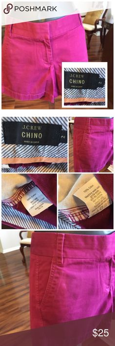 """J. Crew Shorts Fuchsia color J. Crew Chino shorts. Measures 30"""" in the hips with 4"""" inseam. Excellent condition. J. Crew Shorts"""