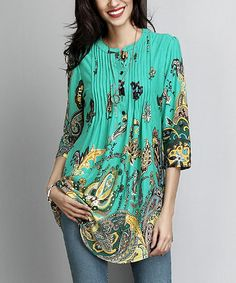 Love this Green Paisley Notch Neck Pin-Tuck Tunic on #zulily! #zulilyfinds