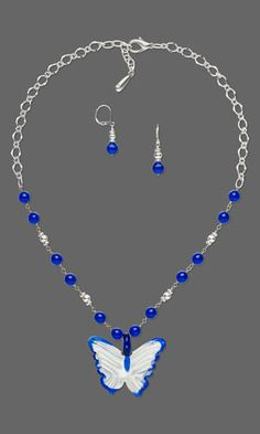Single-Strand Necklace and Earring Set with Czech Pressed Glass Druk Beads and Lampworked Glass Focal