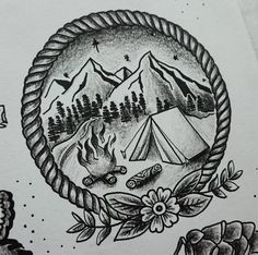 Coming home #art #nature #tattoo #oldschooltattoo #stippletattoo #camping…