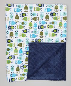 Look at this 35'' x 43'' Navy Night Owl Stroller Blanket on #zulily today!