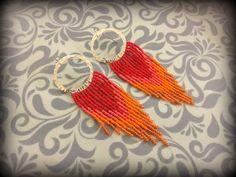 Red and Orange Hoop Fringe Earrings | Seed Bead Earrings | by DPTeeCreationsShop on Etsy