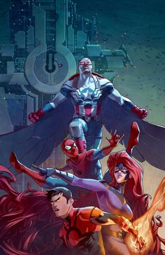 Captain America and company by Jamal Campbell #Spiderman #Medusa #Inhumans