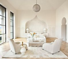 """All white bedroom at the """"Casbah Cove"""" in Palm Desert designed by Gordon Stein Design"""