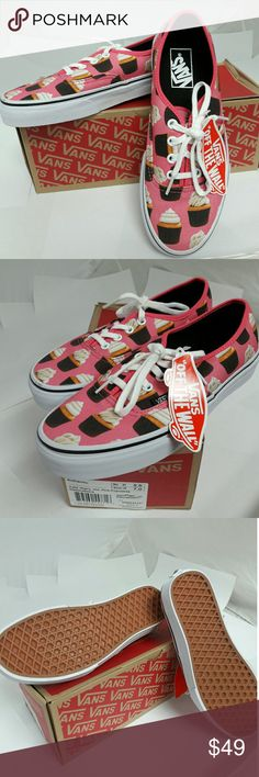 VANS Authentic (Late Night) Hot Pink, Cupcakes Brand New w/Tags and Box. Vans Late Night Authentic combines the original and now iconic Vans low top style with an allover cupcake print, sturdy canvas uppers, metal eyelets, and signature rubber waffle outsole. Size: Womens 7.0 (mens 5.5) ... Ask me anything! Vans Shoes Sneakers