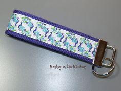 Peacock glitter Key Fob Key Chain Key Ring by MonkeyintheMailbox