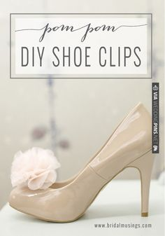 DIY Shoe Clips: Chiffon Pom Poms | photos by   Full Tutorial here: | CHECK OUT MORE IDEAS AT WEDDINGPINS.NET | #weddings #weddinginspiration #inspirational