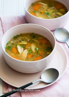 Easy recipe for a slow cooker chicken vegetable soup. This slow cooker chicken soup recipe is loaded with vegetables and is healthy, low calorie.
