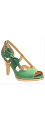 Green Scalloped Preppy Lady Heels