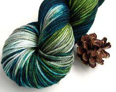 hand dyed yarn, hand painted yarn, handpainted yarn, superwash merino yarn, kettle dyed yarn, dk weight, teal green gray grey, hiking pct