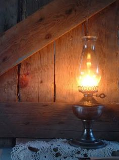 The warm glow of an oil lamp.
