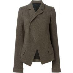 Haider Ackermann blazer jacket ($1,045) ❤ liked on Polyvore featuring outerwear, jackets, blazers, brown, wool blend jacket, haider ackermann, brown jacket and brown blazer