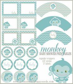 Mini Kit para Baby Shower de Monito, para Imprimir Gratis.
